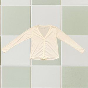 Off white/Cream Long Sleeve Tie Front Knot Shirt